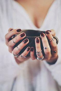 Jewelry Trends oxblood nails + stacked rings are just a few of our favorite fall accessory trends!oxblood nails + stacked rings are just a few of our favorite fall accessory trends! Dark Nail Polish, Dark Nails, Silver Nails, Silver Rings, Silver Pendants, Red Polish, Glitter Nails, Oxblood Nails, Burgundy Nails