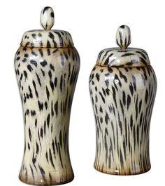 Pizzazz! Home Decor: Unique Home Decor - Cheetah Animal Print Ceramic Malawi Containers Jars Set/2, $239.80 (http://pizzazzhomedecor.com/cheetah-animal-print-ceramic-malawi-containers-jars-set-2/)