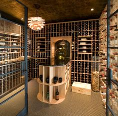 Wine cellar sports a gorgeous floor vase filled with corks!