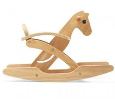 Tori Foldable Rocking Horse by Plan Toys via apartmenttherapy: Every parent… Wood Rocking Horse, Wooden Horse, Rocking Chair, Wooden Plane, Plan Toys, Design Within Reach, Wood Toys, Kids Furniture, Pallet Furniture