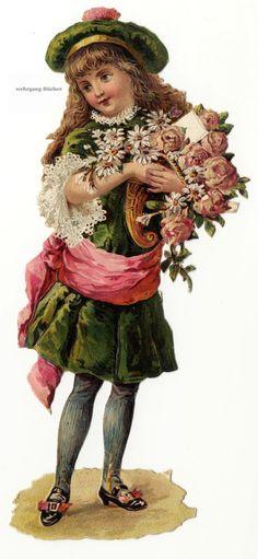 Vintage Victorian Die Cut Paper Scrap Girl w Flowers A Blank Letter C 1876