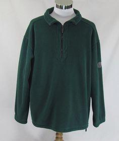 Eddie Bauer L Mens 1/4 Zip Fleece Pullover Solid Green 100% Polyester #EddieBauer #14