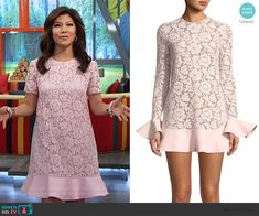 Julie Chen Fashion on Big Brother Cutout Dress, Lace Dress, Big Brother Style, Julie Chen, Scalloped Dress, Bow Blouse, Asymmetrical Tops, Couture Dresses, Pink Lace