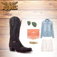 Combina tu #outfit con #BotasRudel #VaqueraFashion, si te gustan puedes comprarlas aquí: http://botasrudel.com/tienda/dama/grasso-negro-2/
