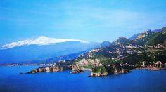 A view of all the bay Giardini naxos - Etna and Isola Bella - Taormina