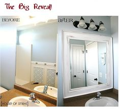 Another Amazing Bathroom Mirror Transformation! I like having large mirrors in the bathroom. Great update to existing large mirror.