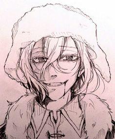 Anime Drawings Sketches, Animal Sketches, Anime Sketch, Art Drawings, Manga Anime, Bongou Stray Dogs, Cute Anime Boy, Amazing Drawings, Watercolor Animals