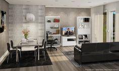 Sala de Estar Conjugada com Sala de Jantar com 2 Estantes, Rack, Sofá 3 Lugares, Mesa com Tampo de Vidro e 4 Cadeiras Branco/Preto - Caaza