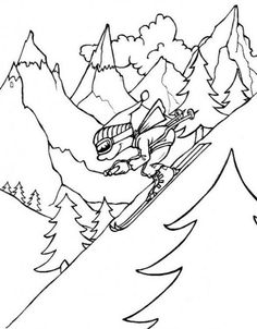 Skiing fast winter sports color page, sports coloring pages, color plate, coloring sheet Sports Coloring Pages, Cool Coloring Pages, Printable Coloring Pages, Adult Coloring Pages, Coloring Pages For Kids, Puzzles For Kids, Sports Art, Kids Nutrition, Geography