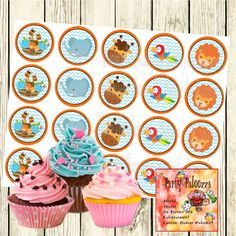 Printable Noah's Ark Baby Shower Cupcake Topper by PartyPaloozza