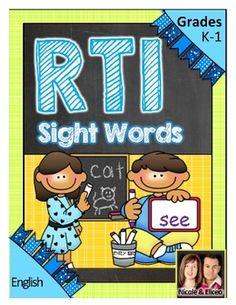 Fun Kindergarten Response to Intervention (RTI) activities for sight words!