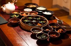traditional Korean dinner table; photography by Martin Prazak