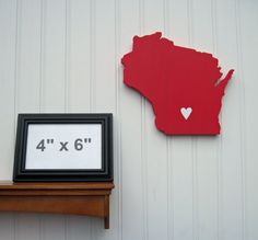 """Wisconsin Badgers """"State Heart"""" wall art, handcrafted wood with official team colors $29.00"""