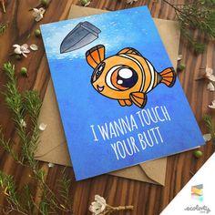 FINDING NEMO CARD Pun Funny Punny Clown Fish Marlin Finding Dory Ocean Pixar Disney Anniversary Birthday Card For Girlfriend For Boyfriend Cute Marlin Finding Dory Hank Destiny Ellen Degeneres Hank Stan Gill Bubbles Bailey Butt Booty Cute Greeting Card