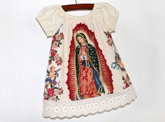Mexican Our lady of Guadalupe baby dress in Black or Cream