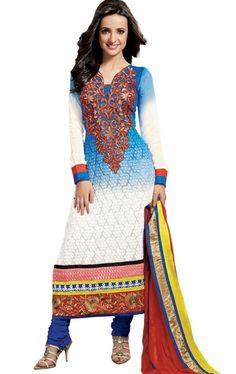 Shaded Off White and Blue Color Latest Indian Salwar Kameez with Dupatta HSPMAH1006 - www.indianwardrobe.com