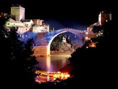 """Mostar, Famous """"Old Bridge""""-Bosnia & Herzegovina  Destroyed during 1990's civil war, but rebuolt in early 2000's."""