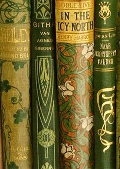 Antique books in gold and green