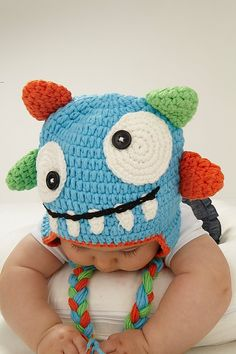Items similar to Mi sombrero de ganchillo de Monster on Etsy                                                                                                                                                                                 Más