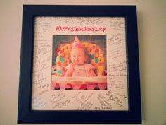 I made this personalised 1st birthday gift. Everyone at her party left a message for the birthday girl :-)