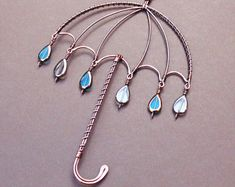 Rainy Umbrella Suncatcher, Weather Gifts for Women, Whimsical Art, Blue Raindrops, Raining Cats and Dogs, Copper Wire Art, Umbrella Gifts