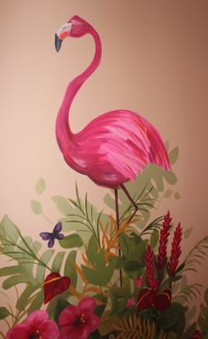 jungle mural flamingo