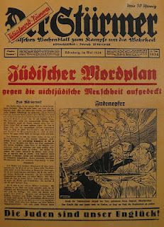 Der Sturmer was the most vehemently anti-Semitic newspaper in Nazi Germany. This image was the front page of its May 1934 issue which depicted a caricature of Jewish men collecting the blood of Christian children for a religious ritual.