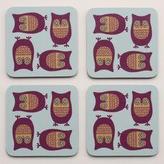 Image of Sleepy Owl Coasters - Pack of Four