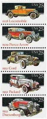 STAMPS from around the World.    1988 25c Classic Cars, Booklet Pane of 5 Scott 2381-85 Mint F/VF NH