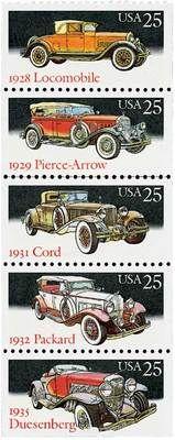 1988 25c Classic Cars, Booklet Pane of 5 Scott 2381-85 Mint F/VF NH