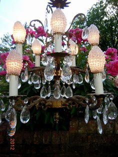Beautiful antique czech glass fruit flower bead basket lamp ebay chandelier with gorgeous vintage beaded bulb covers via ebay seller jetee1 aloadofball Image collections