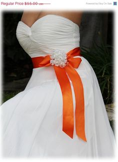 Orange bridal sash ribbon sash rhinestone belt by BijouxandCouture, $44.00