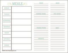 Meal planning boot camp for me this week...and this is a printable!  score! I love that you can list ingredients next to your meal plan.