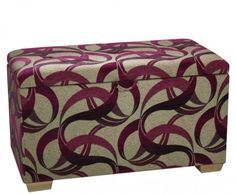 Burgundy upholstered ottoman with vertical quilted and padded lid is available in more than 40 fabrics and a selection of wooden leg finishes. Bedroom Ottoman, Upholstered Ottoman, Storage Footstool, Blanket Box, Free Fabric Swatches, Wooden Leg, Buy Fabric, Outdoor Furniture, Outdoor Decor