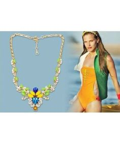 New 2013 Luxurious Colourful Gem Crystal Leaves Alloy Necklaces & Pendants Fashion Jewelry