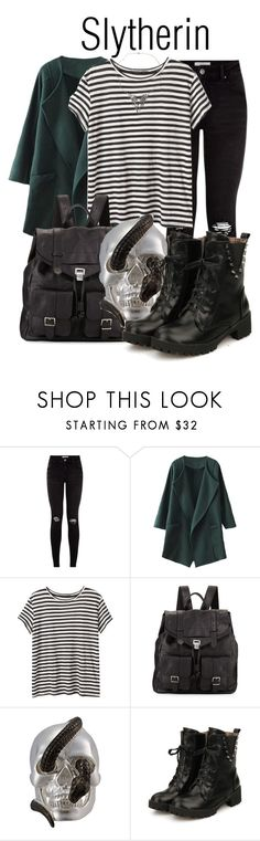 """Slytherin"" by ginger-coloured ❤ liked on Polyvore featuring Proenza Schouler, Theo Fennell, Rock Rebel, Punk, grunge, hp and jkrowling"