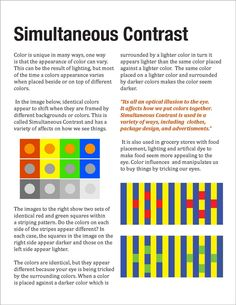 Color Theory: Simultaneous Contrast | whenever two different colors come into direct contact, their similarities seem to decrease and the dissimilarities seem to be increased | placing a color next to its complement will appear to increase the color's intensity [Ocvirk (1998), Art Fundamentals: Theory and Practice, Eighth Edition, Chapter 7]