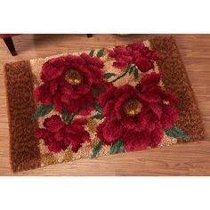 Red Rose Designer Rug #9 Latch Hook Kit - Herrschners Latch Hook Braids, Latch Hook Rugs, Diy And Crafts, Arts And Crafts, Rug Yarn, Punch Needle Patterns, Romantic Roses, Kits For Kids, Wall Patterns