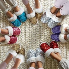 Sequin slippers are a must-have for the holiday season! They're the perfect gift for a gal or family member! You'll never want to wear real shoes again! Wouldn't these be fun for girl's nights and sleepovers?!