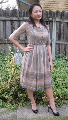 vintage 50s 60s striped full skirt day dress by lovestoryvintage, $32.00