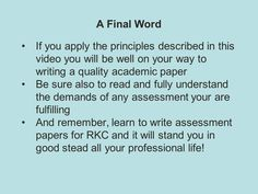Writing Academic Papers Learning To Write, You Videos, Assessment, How To Apply, Writing, Reading, Words, Paper, Word Reading