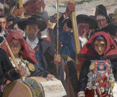 """The Provinces of Spain 1911-16 Joaquin Sorolla y Bastida (1863-1923) Fourteen murals, oil on canvas   Sorolla's conversations with Huntington led to a contract in November 1911 to decorate a room at the Hispanic Society with a series of large canvases representing the Provinces of Spain with their typical regional costumes. There followed eight years of feverish work as Sorolla crisscrossed Spain seeking models and inspiration for what he came to call his """"artist's vision of Spain."""""""