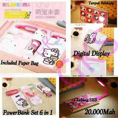 #powerbank set 6 in 1 #hellokitty @ 335.000