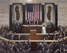 Separation of Church and State - Canvas Giclee, S/N Limited Edition of 250 - McNaughton Fine Art Marriage Advice Cards, Advice For Newlyweds, Saving Your Marriage, Save My Marriage, Jon Mcnaughton, Large American Flag, State Canvas, Litho Print, In God We Trust