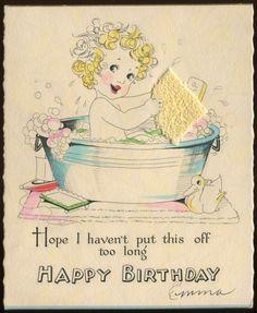 c1920-1930s Antique Hallmark Birthday Card Girl In Bathtub Attached sponge