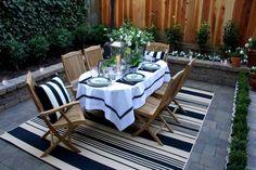 jardin et terrasse  revêtement de sol en pierre avec coin repas
