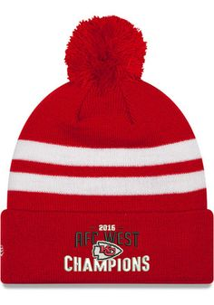 cheap for discount 5486c c979f New Era Kansas City Chiefs Red 2016 Division Champion Knit Hat