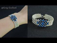 DIY elegant beaded bracelet with seed beads and swarovski bicone beads - YouTube Seed Bead Bracelets Tutorials, Beaded Bracelets Tutorial, Bracelet Designs, Beading Tutorials, Bead Jewellery, Seed Bead Jewelry, Seed Beads, Jewelry Necklaces, Beaded Necklace Patterns