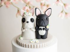 Black and White French Bulldog Wedding Cake Topper - Frenchie Wedding by Bonjour Poupette