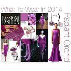 """Hot Colour Trend for 2014: Radiant Orchid"" by #dorlydesigns on Polyvore What To Wear in 2014? The Colour of The Year! Radiant Orchid featuring our gorgeous FERI designer jewelry line for Spring/Summer and Fall."